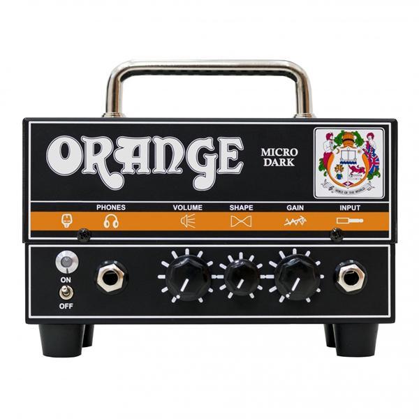 Orange Micro Dark kitaravahvistin edestä.