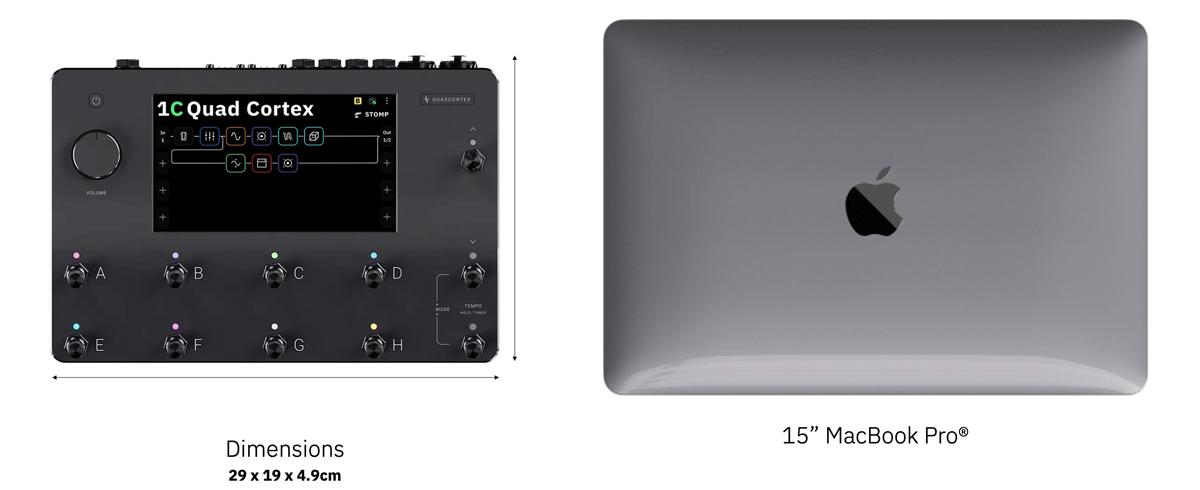 """Quad Cortex ja 15"""" MacBook Pro kokovertailussa."""