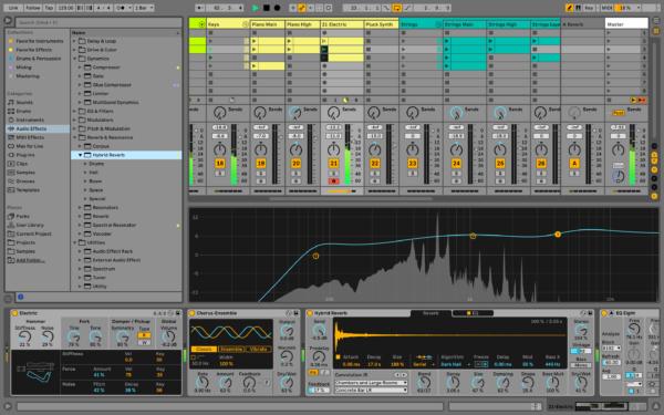 Ableton Live 11 Hybrid Reverb toiminnon käyttöä.