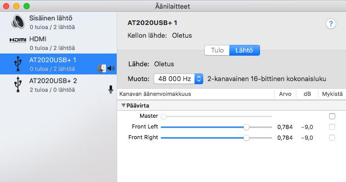 Mac OS äänilähteen valinta.